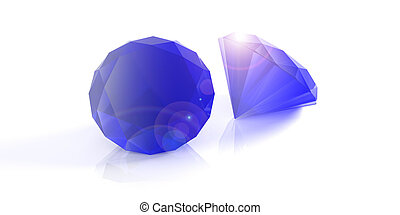 Sapphire stones isolated on white. 3d illustration