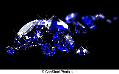 Sapphires on black surface - Sapphires on black surface made...