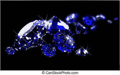Sapphires on black surface (vector) - Sapphires on black...