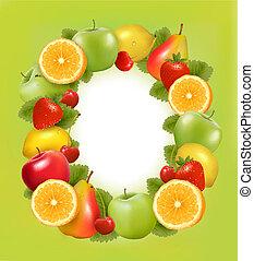 sappig, fruit, fris, gemaakt, frame