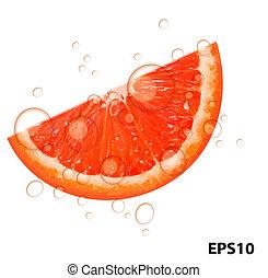 sappig, illustratie, grapefruit, vector, achtergrond, fris