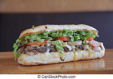 sappig, paddenstoel, en, biefstuk sandwich