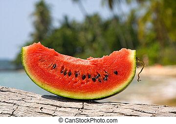 sappig, plak van watermeloen