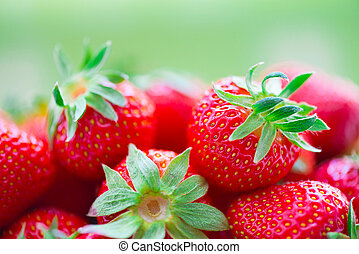 sappig, rijp, aardbeien, in, mand