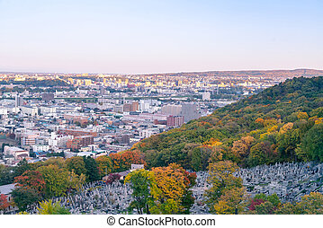 Sapporo city skyline over Mt Moiwa, Hokkaido Japan