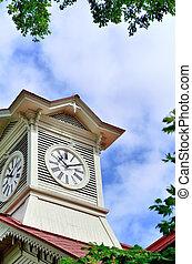 Sapporo city clock tower, in Hokkaido, Japan.