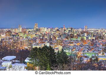 Sapporo, Japan Twilight Winter Skyline - Sapporo, Japan ...