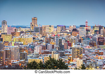 Sapporo, Japan winter skyline