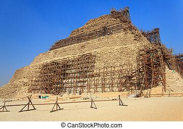 saqqara, エジプト, ピラミッド, djoser, 修復