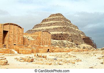 saqqara, ステップ, ピラミッド, エジプト