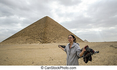saqqara, 建築, ピラミッド, 夢, 目的地, 旅行, 赤, 観光客, 旅行, アジア人, エジプト