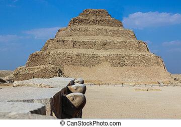 saqqara., desert., ステップ, エジプト, djoser., ピラミッド
