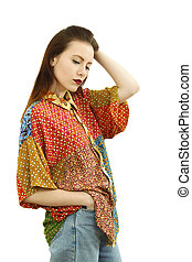 Sara clothes - Beautiful young attractive woman standing in ...