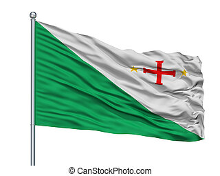 Sara Province City Flag On Flagpole, Bolivia, Isolated On ...