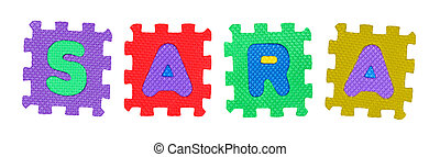 Sara - The name SARA made of letter puzzle, isolated on ...