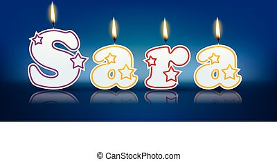 SARA written with burning candles - vector illustration