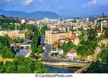 Sarajevo city, capital of Bosnia and Herzegovina - Aerial...
