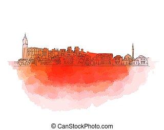Sarajevo Colorful Landmark Banner