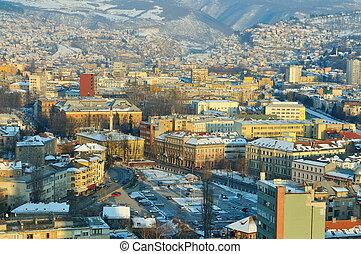 sarajevo city landscape at winter season