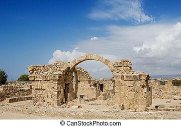Saranta Kolones at Paphos Archaeological Park, Cyprus. The...