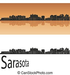 Sarasota skyline in orange background in editable vector file