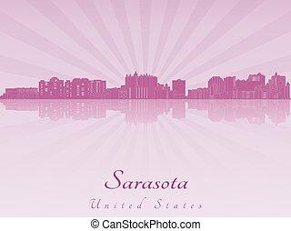 Sarasota skyline in purple radiant orchid in editable vector file