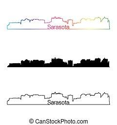 Sarasota skyline linear style with rainbow in editable vector file