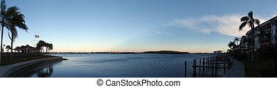Sarasota waterway paroramic. Featuring calm waters, wood ...