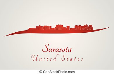 Sarasota skyline in red and gray background in editable vector file