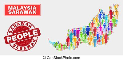 Sarawak State Map Population People and Corroded Stamp - ...