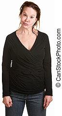 Sarcastic Woman in Black