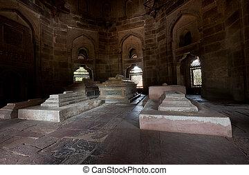 Isa Khan Tomb - Sarcophagi in Isa Khan Tomb in Humayun's...