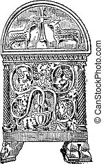 Sarcophagus of Byzantine style vintage engraving - Old...
