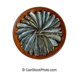 sardalya - European pilchard .Sardina roast in pan Turkish...