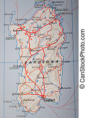 Map Photography: Sardegna on a Road Map