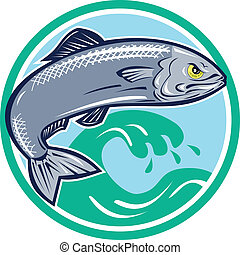 Illustration of an angry sardine fish jumping with waves in background set inside circle on isolated white background retro style.