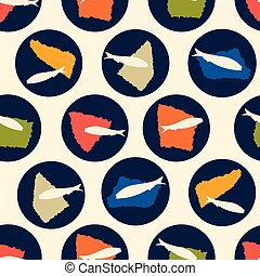 Sardine fish swimming seamless vector pattern. Lisbon St Antonio traditional portugese food festival fishes circles.