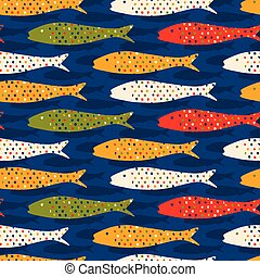 Sardine shoal of fish seamless vector pattern of grilled fishes. Lisbon St Antonio traditional portugese food festival.