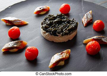 sardine with pannacotta codium and tomato - Bota sardine...