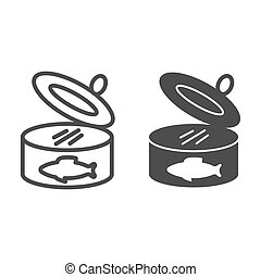 Sardines can line and glyph icon. Fish tin vector illustration isolated on white. Seafood outline style design, designed for web and app. Eps 10.