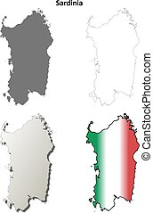 Sardinia blank detailed outline map set