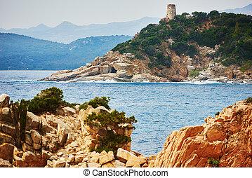 sardinia, costa mar, recurso, em, itália