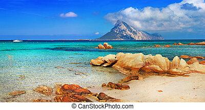 azure sea , island Tavolara.