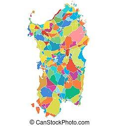 Sardinia, Island, Italy, Colorful Vector Map, printable...