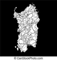 Sardinia, Island, Italy, Monochrome Map Artprint, Vector...