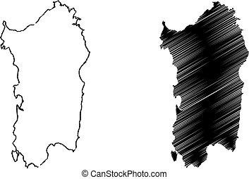 Sardinia island map vector illustration, scribble sketch...
