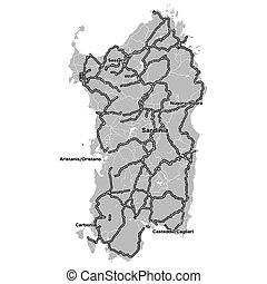 Sardinia Outline map with importand steets. Vecor Artmap for...