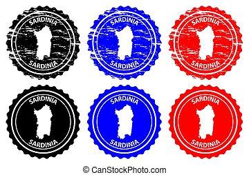 Sardinia - rubber stamp - vector, Sardinia map pattern -...