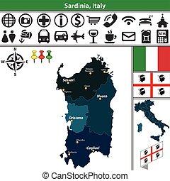 Sardinia with regions, Italy - Vector map of Sardinia with...