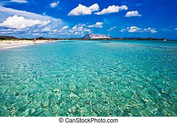 Sandy and sunny beach La Cinta in Sardinia, Italy